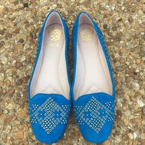 Vince Camuto Blue Suede Studded Loafers